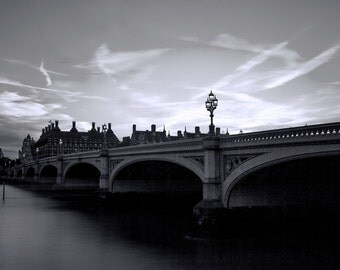 London Westminster Bridge Photography Print, Large Westminster Big Ben photography print, Landscape photography - Images of London