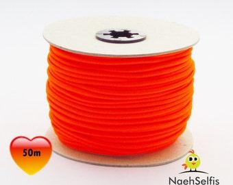 50 M rubber cord 3 mm neon orange