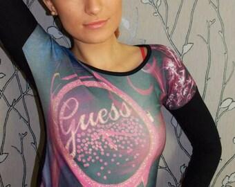 """model # m105 women's longsleeved """"tattoo"""" top"""