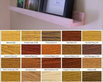 "SOLID OAK - (90"" inch / almost 8 ft-foot) floating picture ledge / wall shelf (Choice of stain color)"