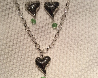 Silver heart pendant with green Swarvowski crystal and matching earrings