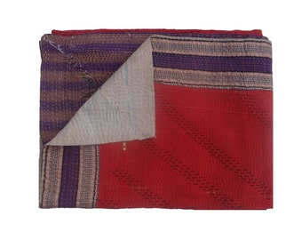 Red One Of Kind  Reversible Kantha Quilt Heavy Kantha Handmade Throw Cotton Thread Stich Kantha