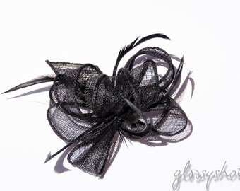 Black Looped Feather Fascinator Hair Clip