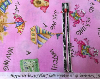 1 yard Happiness Is.. By Mary Lou Weidman for Benartex