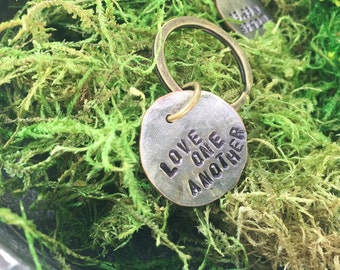 Silver keychain- Love one another