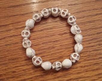 "White Howlite Skull Stretch Bracelet 7"""