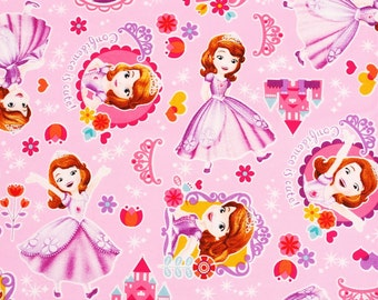 """Disney Sofia the First Character Fabric made in Japan, Pink, FQ 45cm by 53cm or 18"""" by 21"""""""