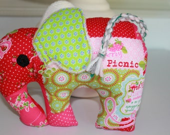 little summer elephant in strawberry and green tones to the love and giving. Fabric elephant; Stuffed animal in pink; Girl gift