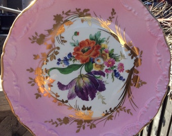 Pretty in Pink Limoges France Cabinet Plate