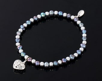 Sarulo Black Freshwater Pearl 925 Sterling Silver Bracelet  Gift Elegant Handmade Charms and Tags