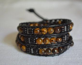 TIGERS EYE BRACELET    triple leather wrap bracelet