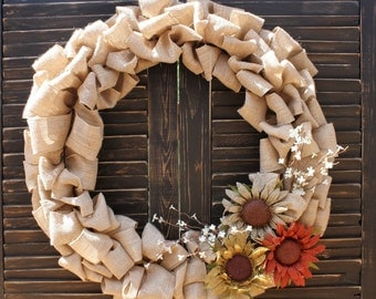 Seasonal Burlap Wreath with Earth Toned Sunflowers