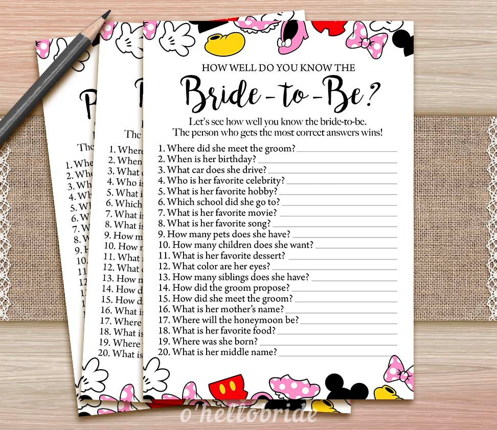 Disney Bridal Shower How Well Do You Know The Bride To Be Game