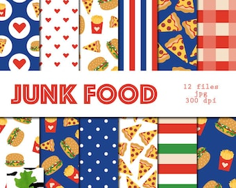 Junk Food Seamless Patterns Digital Paper Burgers Pizza French Fries