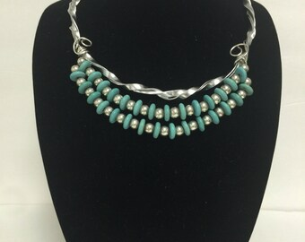 """Handmade Necklace 2 strands Turquoise and Sterling Silver Beads 24"""""""