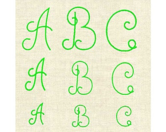 Machine monogram font simple satin stitch alpha