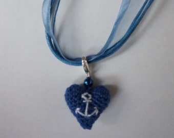 Self-crocheted necklace with organza Necklace (maritime)