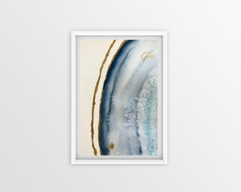 Blue Agate Geode Watercolor Painting (4x6), Geode Decor, Geode Art, Agate Slice, Crystal Painting, Crystal Art, Crystal Decor, Stone Art