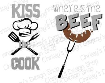 Kiss the cook SVG / Wheres the beef svg / BBQ svg / BBQ clip art / bbq scrapbooking clip art / bbq vinyl crafting / beef svg / chef svg