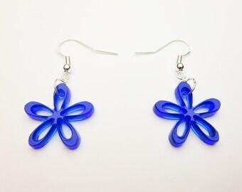 Blue Tinted Acrylic Flowers Earrings