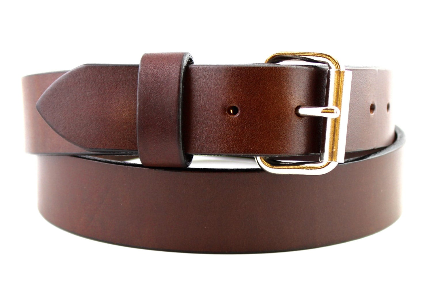 heavy duty brown leather belt grain custom gun work