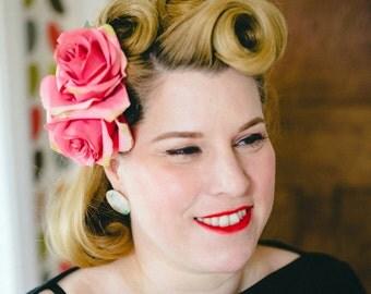 "the ""Rosalita"" - Double rose hair flower, hair clip, vintage style, 1940s, 1950s"