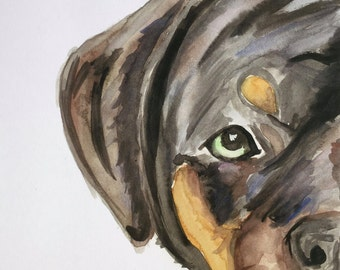 Print of Watercolor Rottweiler
