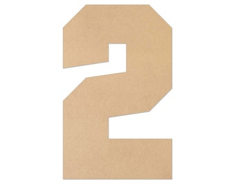 """1"""" - 34"""" Wooden Number 2, Nursery, Kids Room, Wedding Decoration, Large or Small, Ornaments, DIY, Unfinished Wood, Door Wall Hanger # 2075"""