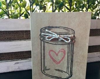 Mason Jar Heart Card Set of 5