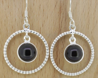 92.5 Sterling Silver Earrings with Glitzy Smoky Quartz