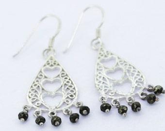 92.5 Sterling Silver Earrings with Gunmetal