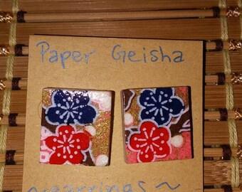 Recycled Scrabble Tile Earrings- Sakura Flowers