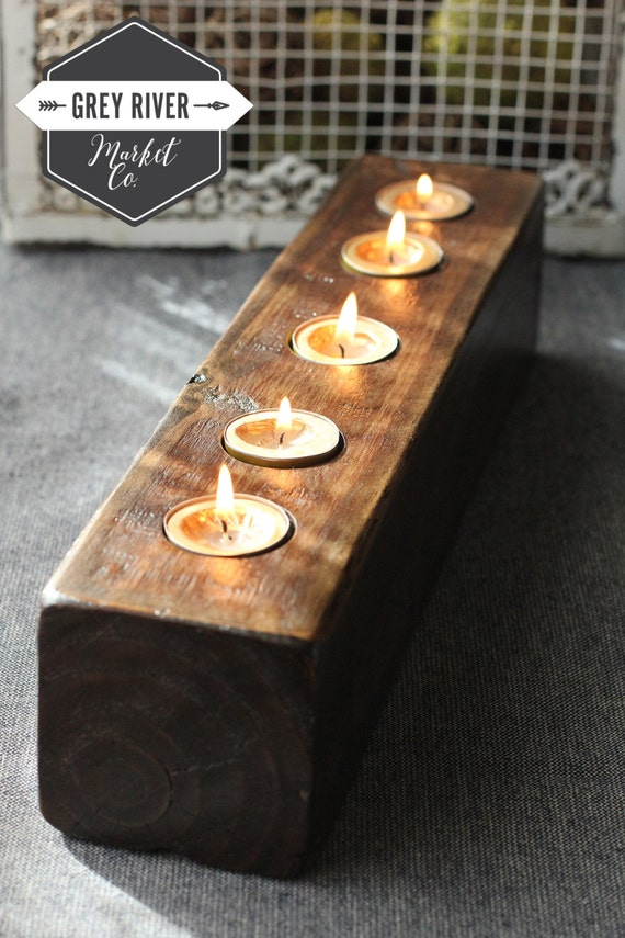 Wooden Candle Holder Reclaimed Wood Long Wooden Tea Light