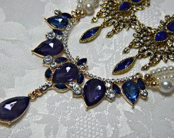 art deco necklace set,  gatsby necklace set, blue sapphire necklace set,  sapphire and pearl necklace set,  sapphire pearl wedding necklace