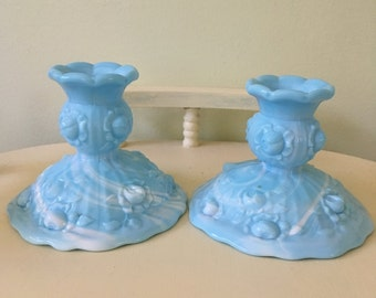 Vintage Fenton Blue Slag Glass Cabbage Rose Candlestick Holders vintage home decor Collectable