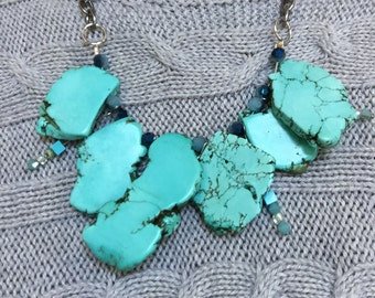 Turquoise Slab with silver chain