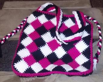 3 color entrelac purse