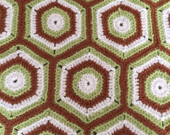 Vintage Handmade Afghan Hexagon Design