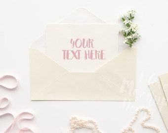 Envelope with Blooming Branch, String of Beads and a Pink Ribbon on a White Desktop #1 / Stock Photography / Product Mockup / High Res File