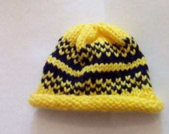 Yellow and Blue 18 in doll hat