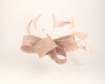 SOLD!!! Beige Fascinator with Feathers and Crystals