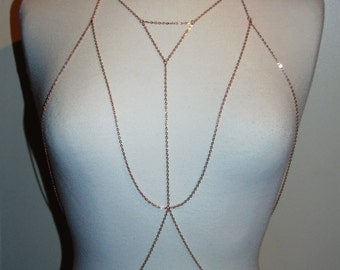 Handmade Geometric Body Harness in Rose Gold