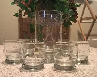 Vintage Princess House Pitcher & Glass Set