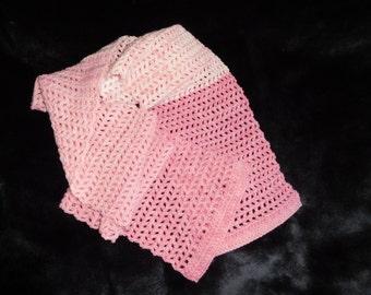 Scarf, handmade, crochet, pink, ombre, rose, summer scarf, lightweight, soft.