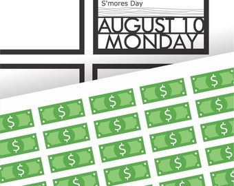 Green Dollar Bill Payday Stickers | For your planner, scrapbook, agenda, calendar | D3