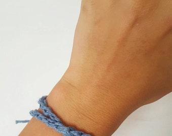 Braided bracelet / braided anklet / denim bracelet / denim anklet / ankle bracelet / denim jewellery / festival jewellery.