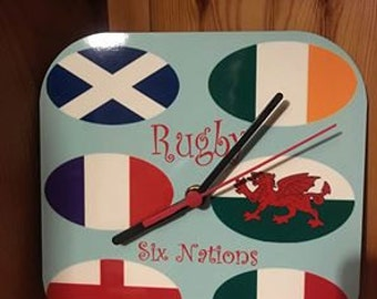 six nations rugby wall clock, fully customisable to your requirements