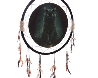 Decorative Fantasy Black Cat Dreamcatcher Large