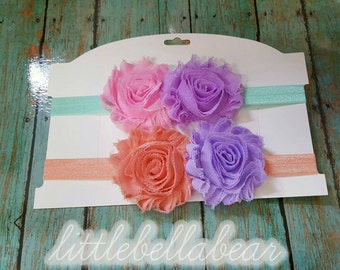 Shabby Chic Flower Headbands set of 2