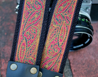 Cotton camera strap, extra long, jacquard ribbon, black red yellow paisley, 1.5 inch (38mm), leather, DSLR, SLR, The Horrible Party